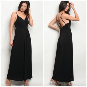 Black Maxi Dress with Strappy Back